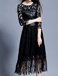 Women's Casual/Daily Formal Sophisticated Swing Dress,Solid Lace Tassel Round Neck Knee-length Long Sleeve Polyester Black Spring Mid Rise