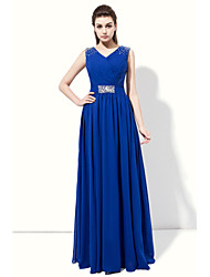 Prom Formal Evening Dress - Elegant A-line V-neck Floor-length Chiffon with Beading Side Draping