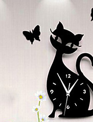 New Fashion 28x50cm 3d Acrylic Kitten Black Cat Butterfly Large Wall Clock Modern Design Home Decor Decorative Diy Wall Clocks