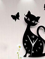 New Fashion 28x50cm 3d Acrylic Kitten Black Cat Butterfly Large Wall Clock Modern Design Home Decor Decorative Diy Wall Clocks