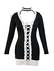 Women's Black White Lace Up Long Sleeve Choker Mini Dress
