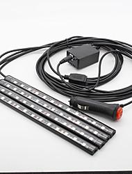 4 x 12 llevó aplicación SUV coche 12v zona de los pies de color rojo piso interior luces de ambiente decorativo