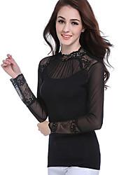 Women's Plus Size Vintage Long Sleeve High Neck Mesh T Shirt