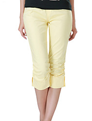 Women's Black/Brown/Yellow/Beige Straight Pants , Vintage/Bodycon/Casual/Cute/Plus Sizes