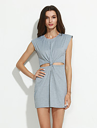 Women's Cut Out Dress , Casual Round Neck