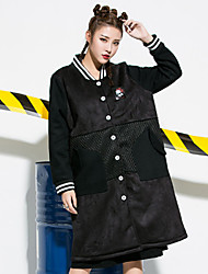 Women's Going out Simple Street chic Trench Coat,Polka Dot Print Stand Long Sleeve Fall Winter Wash inside out Dry flat Polyester Spandex