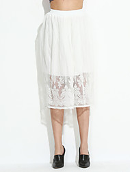 Women's Solid White SkirtsSimple / Cute Midi