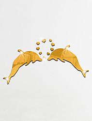 Животные Зеркала Мода Наклейки 3D наклейки Зеркальные стикеры Декоративные наклейки на стены,Стекло материал Украшение домаНаклейка на
