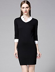 Women's Formal Work Sexy Bodycon Dress,Solid V Neck Above Knee ¾ Sleeve Polyester Black Spring High Rise Micro-elastic
