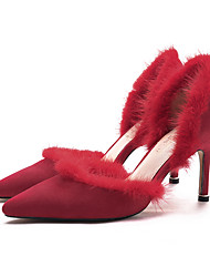Women's Heels Novelty Fur Cashmere Wedding Party & Evening Dress Stiletto Heel Others Black Red