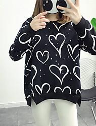 Sweatshirt Femme Décontracté / Quotidien Sportif Sortie Actif Mignon Imprimé Col Arrondi Micro-élastique Coton Polyester Manches Longues