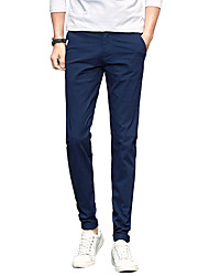 Men's Plus Size Slim Chinos Business Pants,Casual/Daily Work Club Vintage Simple Street chic Solid Low Rise Zipper Button Cotton