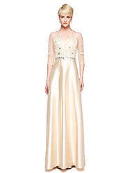 LAN TING BRIDE Floor-length Jewel Bridesmaid Dress - Elegant 3/4 Length Sleeve Lace Stretch Satin