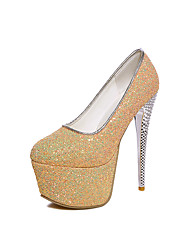 Women's Heels Spring Summer Fall Comfort Glitter Wedding Party & Evening Dress Stiletto Heel Black Blue Yellow Pink Walking