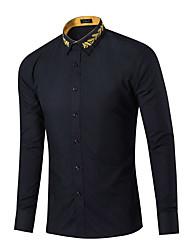 Erkek Orta Pamuklu Uzun Kollu Gömlek Yaka Bahar Sonbahar Ekose Sade Günlük/Sade Mavi Pembe Kırmızı Beyaz Siyah Mor-Erkek Gömlek