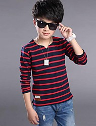 Boy Casual/Daily Striped Tee,Cotton Spring Fall Long Sleeve