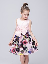 Girl's Going out Print Patchwork Dress,Polyester Summer Sleeveless