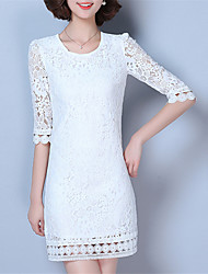 Fashion Spring 1/2 Sleeves Round Neck Upper Outer Garment Daily Leisure Solid Color OL Wild Home Play Lace Shirt