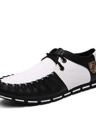 Men's Bussiness Leather Shoes Breathable Office Casual Leather Oxfords Black /White