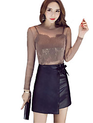 Women's Going out Cute Street chic Spring Summer T-shirt Skirt Suits,Solid Round Neck Long Sleeve Mesh PU Others Regular