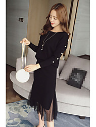 2016 Korean version of Hitz piece beaded sweater + stitching gauze skirt suit