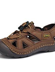 Светло-коричневый Хаки-Мужской-Для прогулок Повседневный-Кожа-На низком каблуке-Удобная обувь Туфли Мери-Джейн Кольцевые обувь-Сандалии