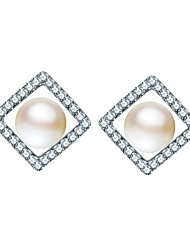 Imitation Pearl Stud Earrings Jewelry Women Daily Casual Sterling Silver Imitation Pearl 1 pair White