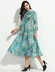 Women's Casual/Daily Vintage Shift Dress,Floral Stand Midi ¾ Sleeve Silk Fall Mid Rise Micro-elastic Medium