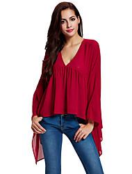 Damen Solide Einfach Lässig/Alltäglich Bluse,V-Ausschnitt Langarm Rot Polyester