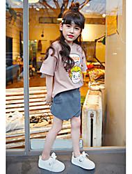 Girl Casual/Daily School Print Blouse,Cotton Spandex Summer Spring Fall Short Sleeve Short