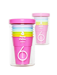 Classic Picnic Drinkware,210ml 6 in 1 BPA Free Polypropylene Juice Carbonated Beverage Rainbow Tumbler