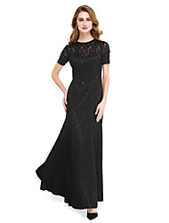 LAN TING BRIDE A-line Mother of the Bride Dress - Little Black Dress Floor-length Short Sleeve Lace with Beading
