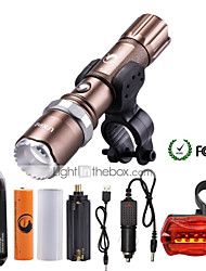 U'King LED Flashlights/Torch Flashlight Kits LED 2000 Lumens 5 Mode Cree XM-L T6 1 x 18650 Battery Adjustable Focus Zoomable Dimmable for