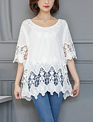 Mujer Simple Casual/Diario Playa Primavera Verano Camiseta,Escote Redondo Un Color 1/2 Manga Algodón Blanco Fino