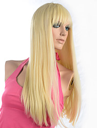Bleach Blonde Wig Women Wig Long Straight Synthetic Wig Costume Cosplay Wigs With Cap