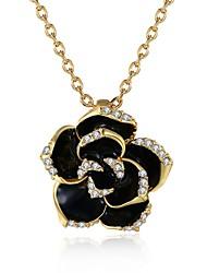 Femme Pendentif de collier Zircon cubique Forme de Fleur Rose Zircon Plaqué Or Rose AlliageOriginal A Fleurs Pendant Cœur Adorable