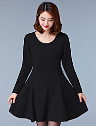 Women's Casual/Daily Simple Loose Dress,Patchwork Round Neck Above Knee Short Sleeve Polyester Black Spring Mid Rise Inelastic