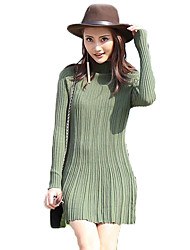 Women's Sexy Solid Knitted Sweater Dress Highneck Long Sleeve A Line Short Dress