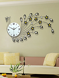 Creative Peacock Set Auger Wall Clock Wrought Iron Large-Sized Mute When The Clock Contemporary Sitting Room Wall Clock