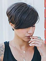 cabelo liso natural, bonito camadas curto sem tampa humano perucas 2017