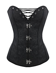 Burvogue Women's Black Sexy Dobby 10 Steel Boned Corset Lace Up Overbust Bustier Tops Waist Training