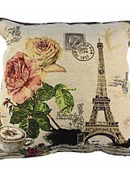 RayLineDo® Linen Cotton Square Throw Pillow Cover Eiffel Tower Decorative Pillow Case CTJZ21-PC-ET