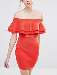 Women's Formal Party Sexy Street chic Sheath Dress,Solid Boat Neck Above Knee Short Sleeve Cotton Rayon Orange All SeasonsMid