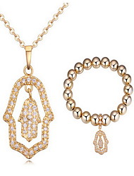 Jewelry 1 Necklace 1 Bracelet AAA Cubic Zirconia Party Zircon 1set Women Gold Wedding Gifts