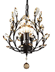 LightMyself 3 Lights Black Chandelier Modern Contemporary Traditional/Classic Rustic/Lodge Tiffany Vintage Retro Lantern Drum Island Globe Bowl