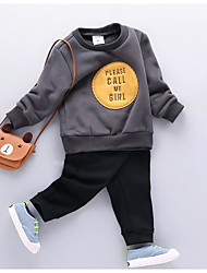 Unisex Casual/Daily Geometric SetsCotton Winter Fall Long Sleeve Clothing Set  without any accessory