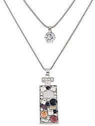 Feminino Colares com Pendentes Forma Geométrica Strass Imitações de Diamante Liga Moda Dupla camada bijuterias Jóias Para Festa Diário