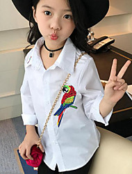 Girl Casual/Daily Embroidered Shirt,Cotton Spring Fall Long Sleeve Regular
