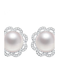 Imitation Pearl Stud Earrings Jewelry Women Daily Casual Sterling Silver 1 pair Silver