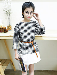 Girl's Cotton Blended Fashion Daily/Go Out Spring/Fall Check Patchwork Long Sleeve Dress Children One-piece (Belt Included)